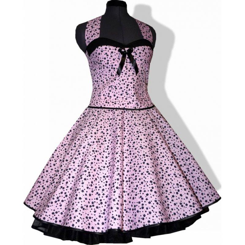 Romantisches Kleid zum Petticoat rosa schwarze Blümchen, Tanzkle