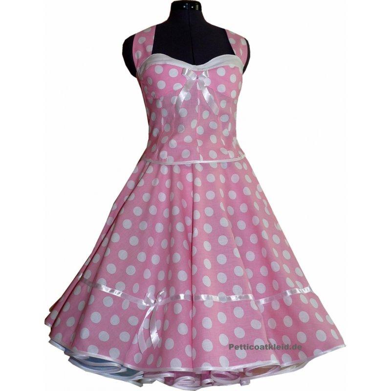 rosa petticoat kleid korsage wei e gro e tupfen tanzkle. Black Bedroom Furniture Sets. Home Design Ideas