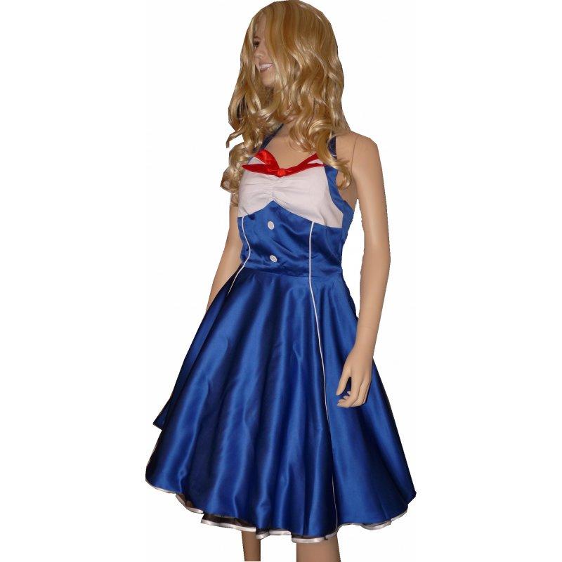 Satinkleid Zum Petticoat Royal Blau Rot Weiß, Tanzkleid
