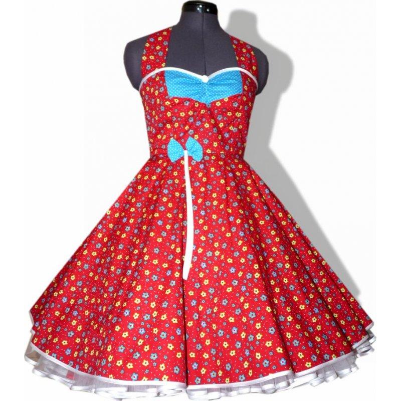 Tanzkleid 50er Jahre zum Petticoat rot weiße Punkte türkis