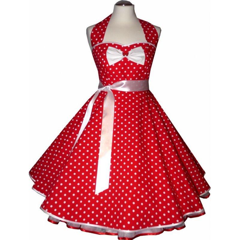 Tanzkleid 50er Jahre zum Petticoat rot weiße Punkte, Tanzkleid-