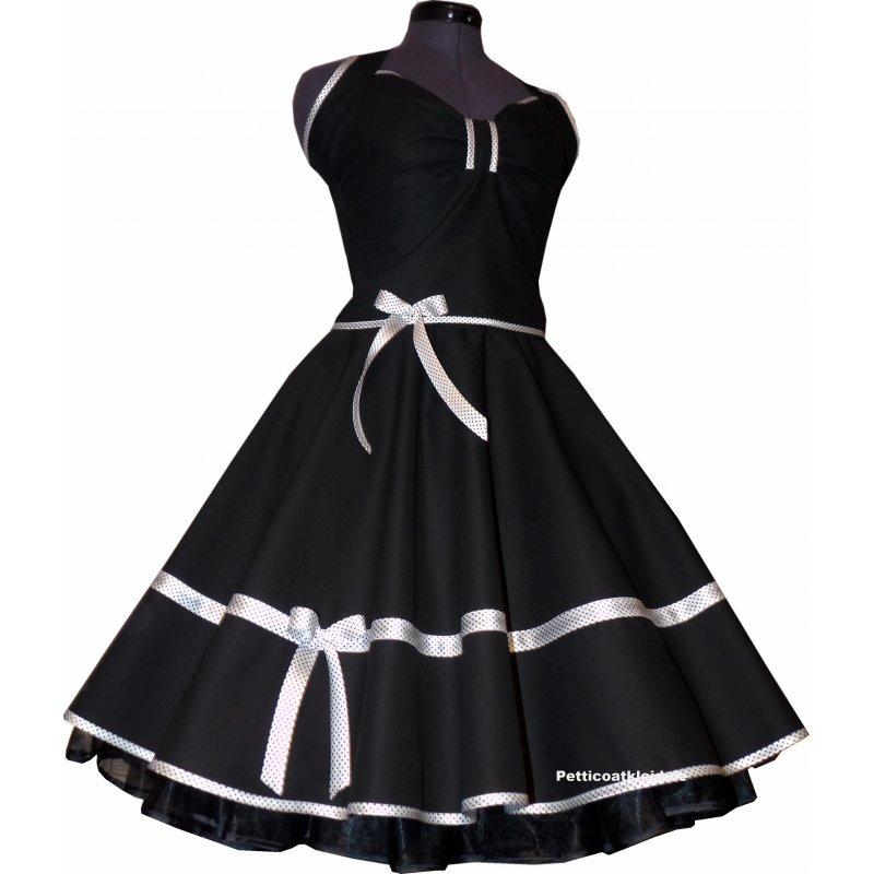 tanzkleid schwarz kleid zum petticoat band wei schwarze punkt. Black Bedroom Furniture Sets. Home Design Ideas