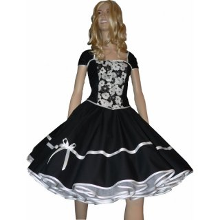 kleid zum petticoat schwarz wei e blumen dalien. Black Bedroom Furniture Sets. Home Design Ideas
