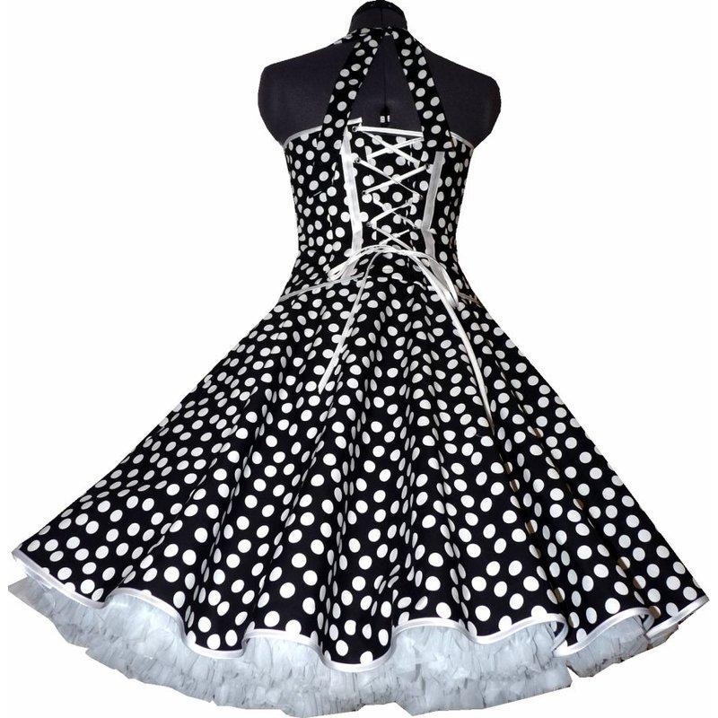 50er tanzkleid petticoatmode schwarz tanzende wei e punkte ta. Black Bedroom Furniture Sets. Home Design Ideas