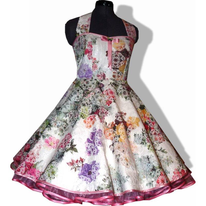 50er Kleid zum Petticoat creme rosa Blumen Romantik ...