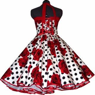 412dce42646e ... Petticoat Kleid Tanzkleid weiß schwarze Punkte rote Rosen ...