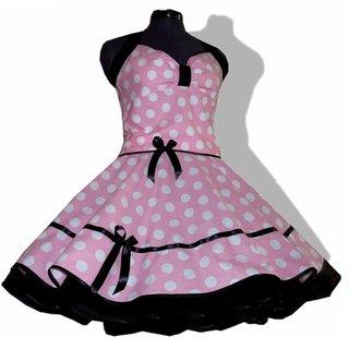 cfd40ea91930 Kleid Rockabilly rosa-weiße große Punkte mit schwarzem Akzent ...