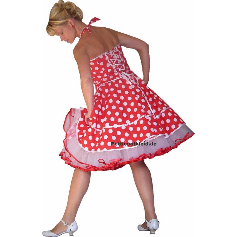 50er Punkte Kleid zum Petticoat rot weiße große Tupfen im ...