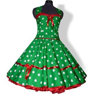 50er Jahre Korsage Petticoatkleid Vintage Grun Weisse Punkte Rot