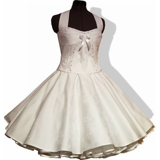50er Jahre Hochzeitskleid Rosen Design Brautkleid Zum Petticoat Wei S