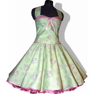 f1df70d7ea395c 50er Jahre Kleid zum Petticoat Tanzkleid Vintage grün rosa Rosen Punkte