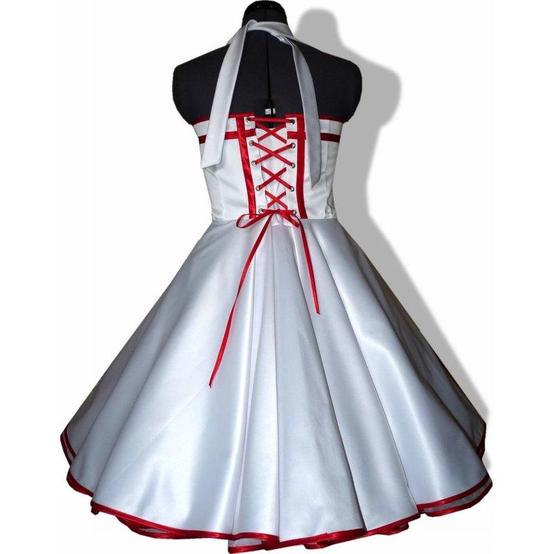 50er Jahre Brautkleid zum Petticoat Hochzeit weiß Band