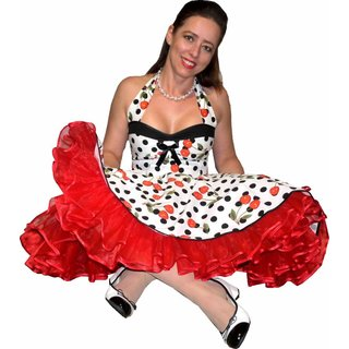 90ee5510757f Petticoat Kleid Tanzkleid weiß schwarze Punkte rote Kirschen ...