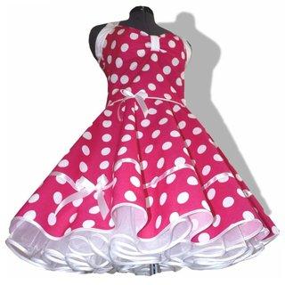 4a0672a08681 Punktekleid Rockabilly pink große weiße Tupfen - Tanzklei