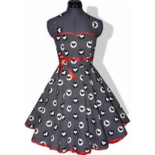 8c260646dc4bd0 ... 50er Jahre Kleid zum Petticoat schwarz mit Punkten und Herzen 36 ...