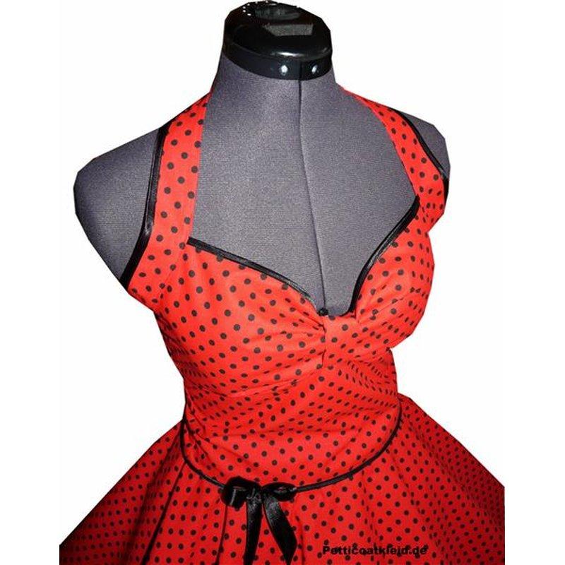 Punkte Petticoat Kleid 2 rot kleine schwarze Tupfen ...