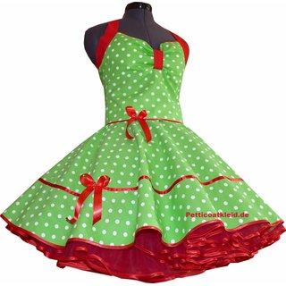 Punkte Petticoat Kleid Apfelgrun Mit Rotem Akzent Tanzkleid De