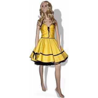 the best attitude aa0df 75d5d Punkte Petticoat Kleid gelb schwarz kleine weiße Tupfen