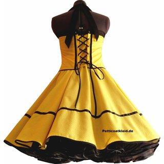 Punkte Petticoat Kleid Gelb Schwarz Kleine Weisse Tupfen Tanzk