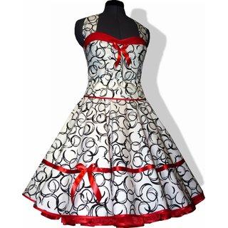 dd745933d8cb72 50er Jahre Kleid zum Petticoat weiss lustige schwarze Kringelkreise rot ...