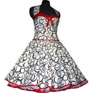76d3b465bcca64 ... 50er Jahre Kleid zum Petticoat weiss lustige schwarze Kringelkreise rot  ...