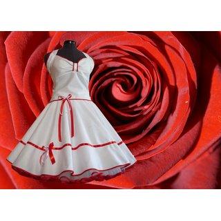 d63bef440cfb1d Brautkleid 50er Jahre Petticoatkleid weiß rote Bänder - Ta