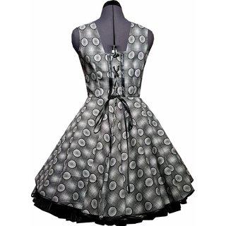 326410cc3b28e9 ... Kleid zum Petticoat Rockabilly schwarz weiß grau Punkte Karo 32-44