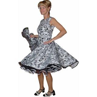 79c3175d2469ea Kleid zum Petticoat Rockabilly schwarz weiß Kringel Kreise 32-44 ...