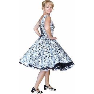 afd41c778f1e29 ... Kleid zum Petticoat Rockabilly schwarz weiß Kringel Kreise 32-44
