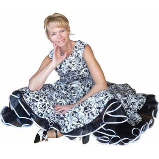 9e6e7d3caea740 ... Kleid zum Petticoat Rockabilly schwarz weiß Kringel Kreise 32-44 ...