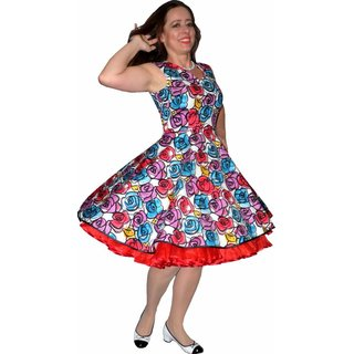 708cc04bccfc2d Kleid zum Petticoat Rockabilly bunte Retroblumen 36