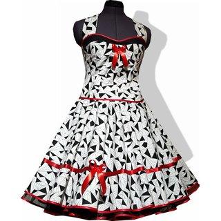800f0a3a8ff828 50er Jahre Kleid zum Petticoat weiß mit schwarzen Prismen.