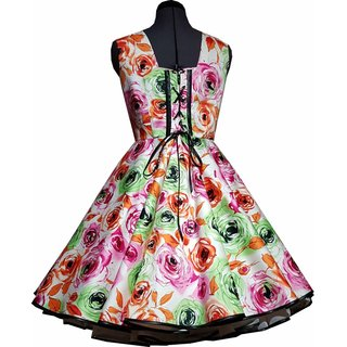 4588065700b9d6 Kleid zum Petticoat Rockabilly pink grüne Rosen 32-44 - Tanzkle