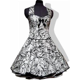 bd9d32317eeb9e 50er Jahre Kleid zum Petticoat weiß schwarze Blattmotive