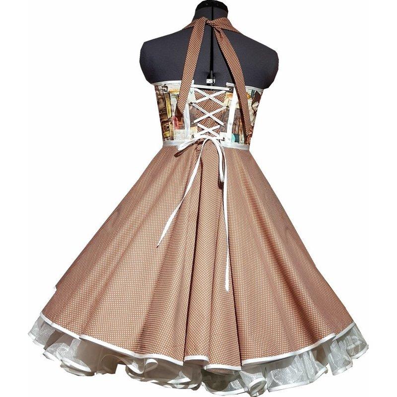 Kleid zum Petticoat 50er Jahre Motive Punkte braun 36/38 ...