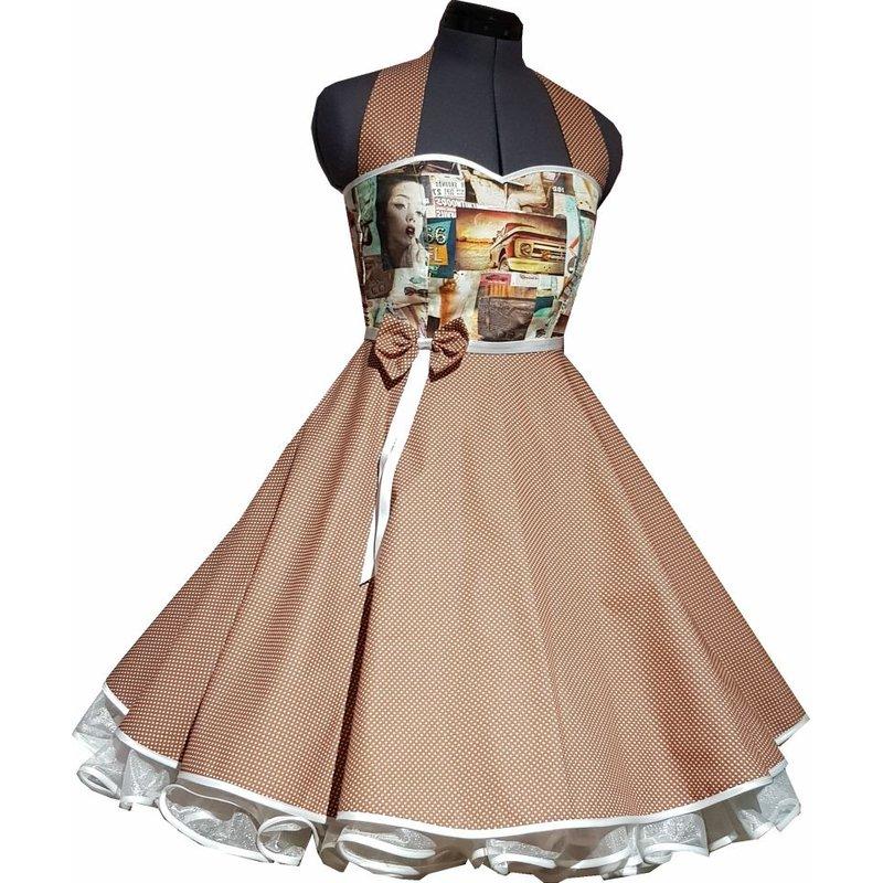 Kleid zum Petticoat 50er Jahre Motive Punkte braun ...