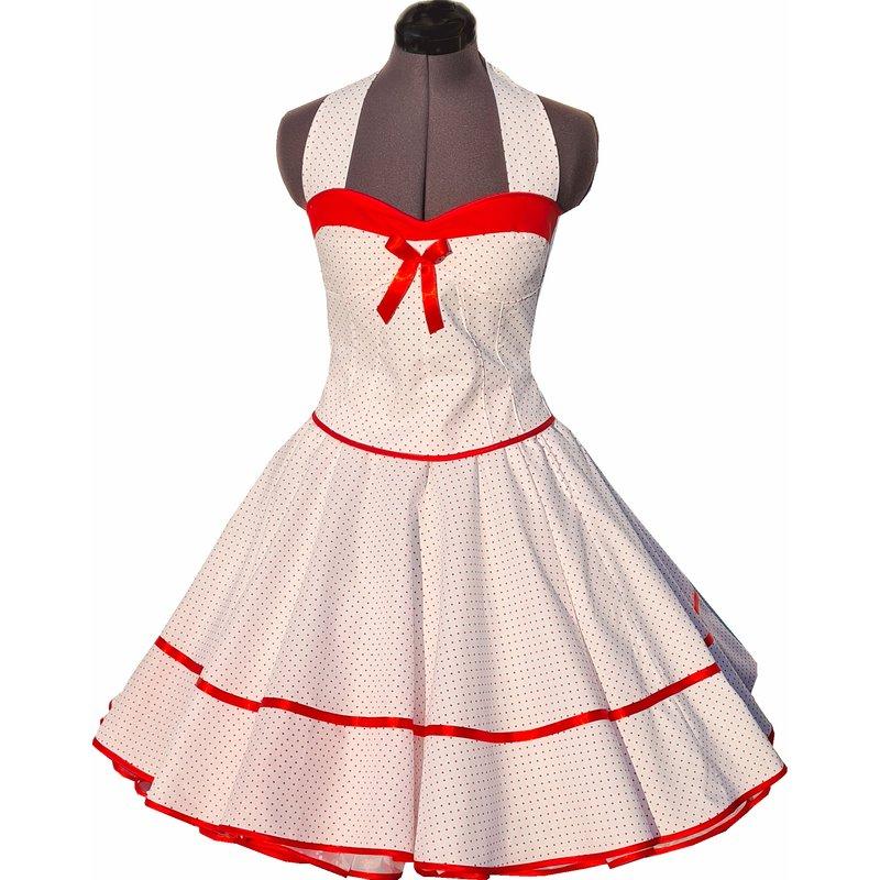 50er Jahre Kleid zum Petticoat weiß mit roten kleinen ...