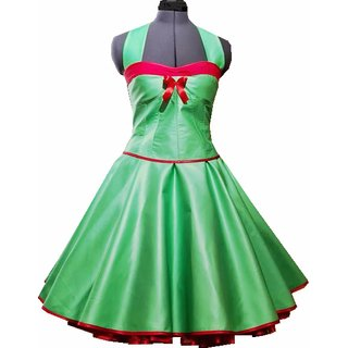 50er Jahre Kleid Zum Petticoat Vintage Korsage Grun Band Rot Tanzkleid Der 50er