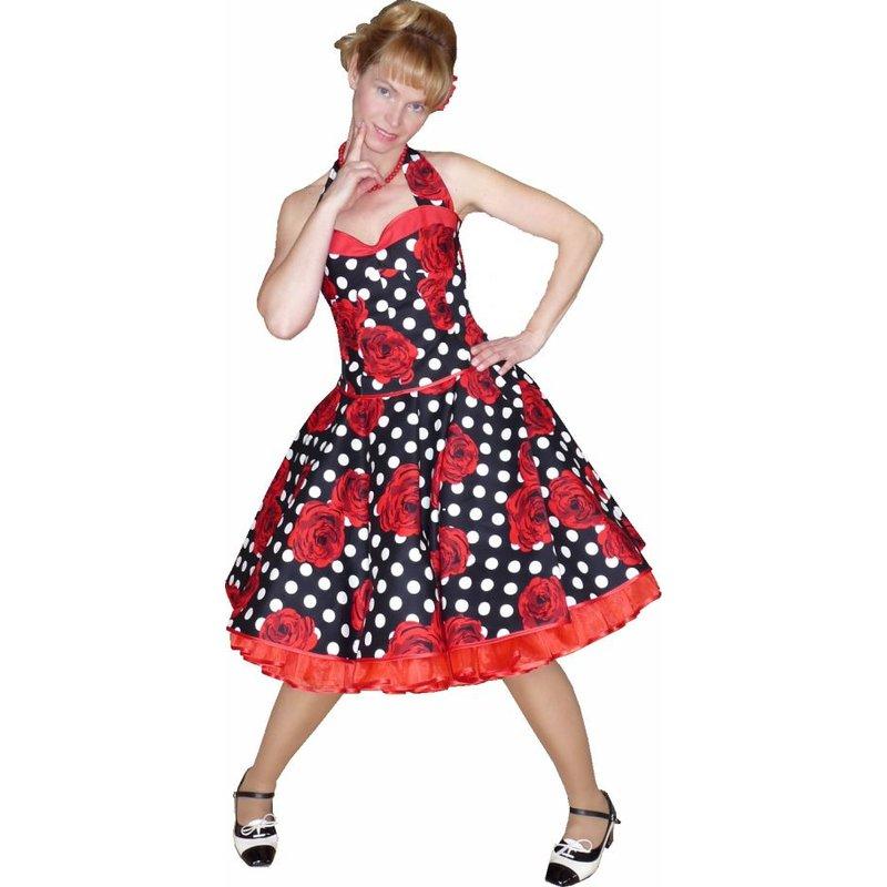 Petticoat Kleid Tanzkleid schwarz weiße Punkte rote Rosen ...