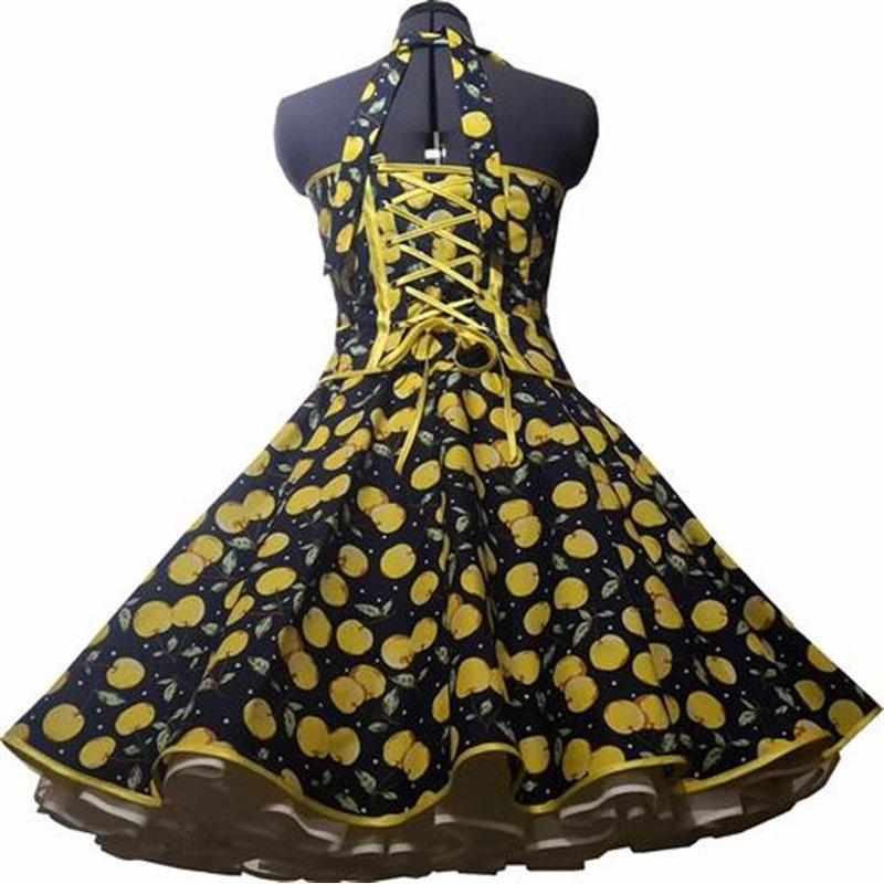 50er Jahre Kleid zum Petticoat dunkelblau gelbe Kirschen ...