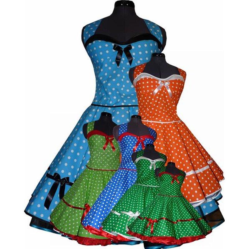 50er Punkte Kleid zum Petticoat türkis grün blau orange ...