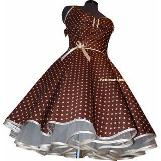 punkte petticoat kleid 2 braun mit creme, weiß oder rosa