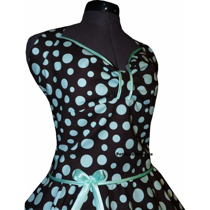 Kleid Rockabilly 2 braunschwarz smaragdgrüne Punkte ...