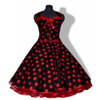 b13187f162703f 50er Jahre Korsage Petticoatkleid schwarz rote Punkte - Tanzkleid-der