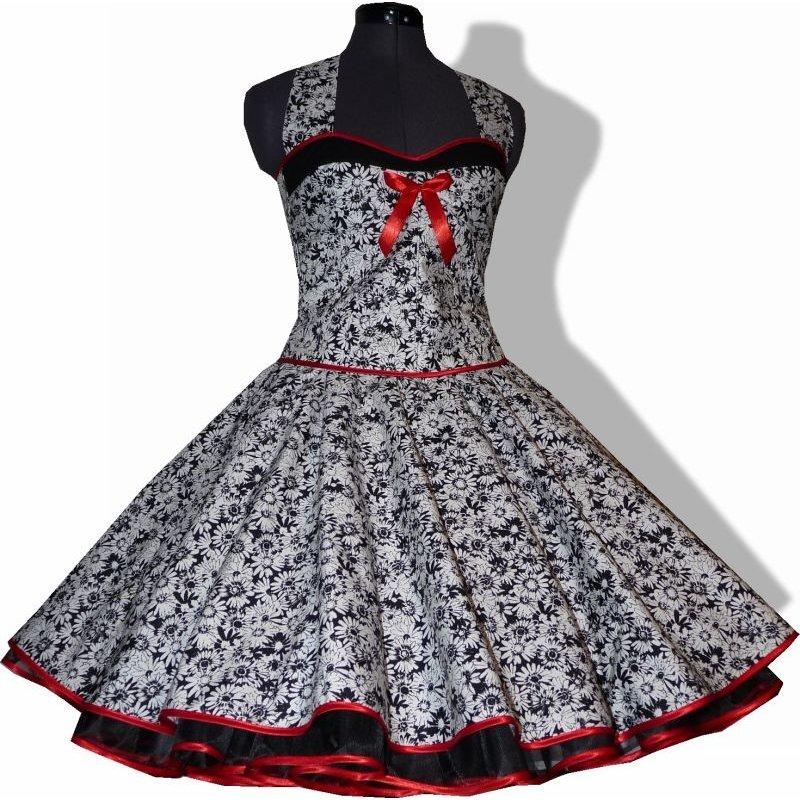 50er jahre kleid zum petticoat schwarz wei e blumen zur. Black Bedroom Furniture Sets. Home Design Ideas