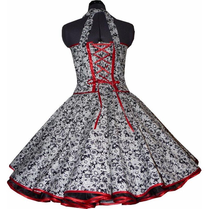 50er jahre kleid zum petticoat schwarz wei e blumen zur jugendw. Black Bedroom Furniture Sets. Home Design Ideas