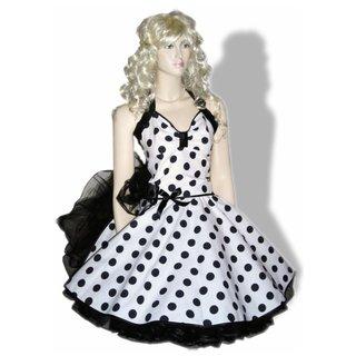 3444440cdc3e Punktekleid Rockabilly weiß-schwarze große Tupfen - Tanzk