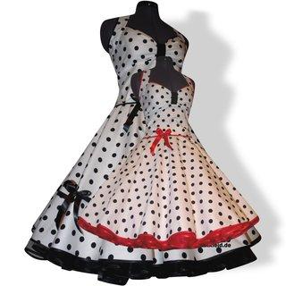 c1125586db52 Kleid Petticoat Punkte 3 weiß schwarze Tupfen 15mm - Tanzkleid-