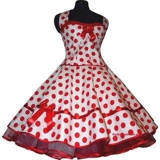80b8b6f9676b06 Weißes 50er Korsage Petticoat Kleid rote Punkte - Tanzkleid-der