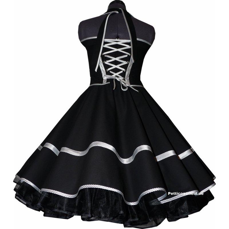 Tanzkleid schwarz Kleid zum Petticoat Band weiß schwarze Punkt